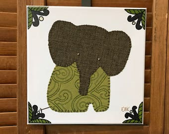 Sitting Elephant #9 Fabric Wall Art