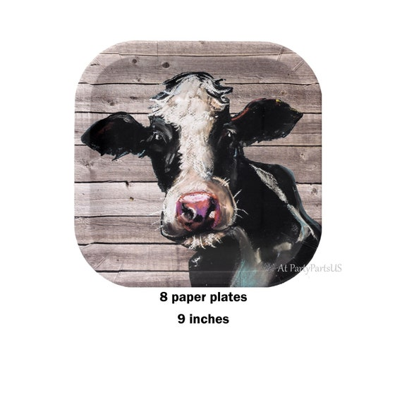 Il_570xn  sc 1 st  Catch My Party & cow plates rustic barn wood paper plates farm birthday barn ...