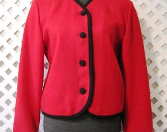 Vintage PENDLETON Jacket Womens Sz 6 Cardigan Blazer Red Virgin Wool USA WSWTR396