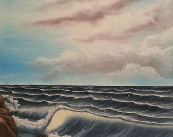 Seascape oil painting with rocks
