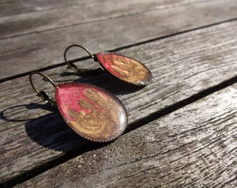 Drop earrings * Brown and carmine red * effect enamel