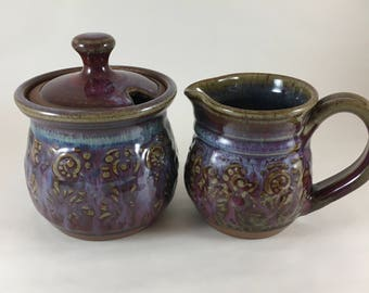 Pottery Sugar Creamer Set, Ceramic Sugar and Cream Set,  Storage Jar, Stoneware Pottery Jar with Small Pitcher, Handmade Pottery