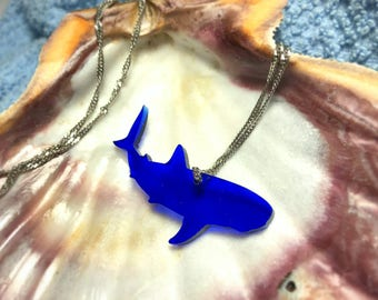 Blue Acrylic Shark necklace, for small gifts