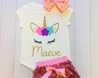 Girls Sleepy Eyes Unicorn Custom Name Shirt