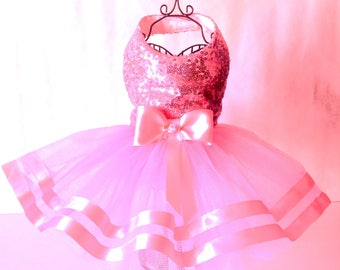 Beautiful Pink Sequinned Tu Tu Dog Dress
