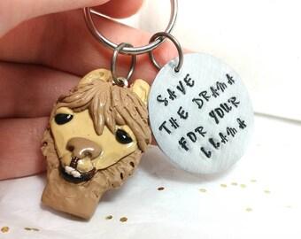 Llama keychain, llama gift, funny keychain, Cute llama keyring, funny llama gift, Keychain for women, Gift for him, hand stamped keyring