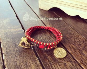String bracelet and handmade chain. Handmade Bracelet. Red Bracelet.