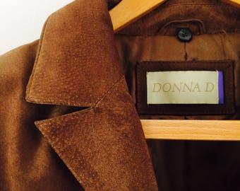 Vintage 80s suède leather coat| leather coat| vintage suede jas| cognac brown leather coat| vintage jas