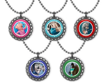 5 SING Movie 3D Bottle Cap Necklace Birthday Party Favors 2