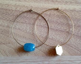 Different light, brass hoop earrings/gift for her.
