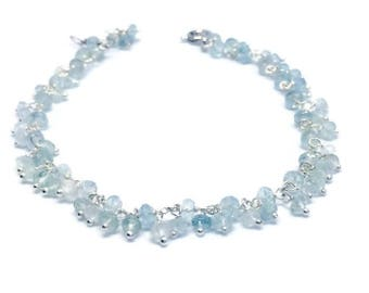 Aquamarine Bracelet, March birthstone, Mother's Day gift, gift for her, 19th wedding anniversary, Aquamarine jewellery, gift for her