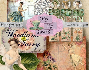 Woodland  Fairy Journal  Digital Journal Kit   Printable Journal Papers   Ephemera Pack  Junk journal  Smash Book  Mini Album  Fae