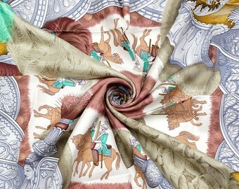 "HERMES SCARF Silk ""Casques et Plumets"" by Julia Abadie 90cm Carre 100% Auth"