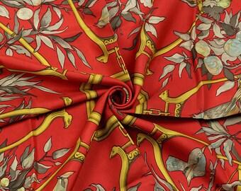"RARE HERMES Scarf Silk ""Ramage"" by Lenke Szechenzyl Vintage 90cm Carre 100% Auth"