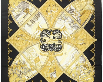 """HERMES Scarf Silk """"Vie a Cheval"""" by Laurence Bourthoumieux 90cm Carre 100% Auth"""