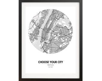 Custom City Map Poster - Choose Your City, Customize Your Map Print - Customizable Home Decor and Unique Gift ideas - City Map Prints