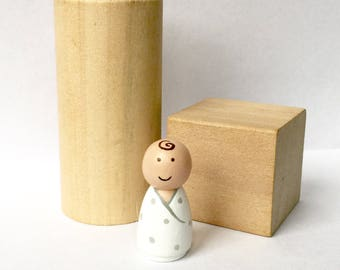 Baby peg doll - custom doll - personalized - infant - baby announcement - gender reveal - wooden doll - peg people - dollhouse - wooden toy