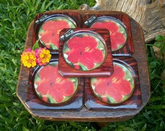Japanese Retro Tokunoshima  Laminated  Floral Wooden Coaster