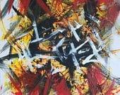 Rouge, Orange, noir et blanc peinture acrylique abstraite sur toile «série 4 XLIV «Art, décoration d'intérieur, non conventionnelle et moderne Art mural