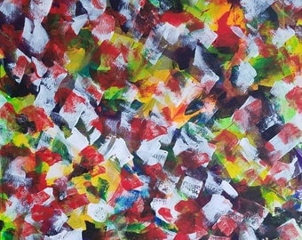 """Red, Black, Yellow and White Original Acrylic Abstract Painting on Canvas """"Series 3 LXI"""" Unconventional, Home Decor, Interior Design, Modern"""