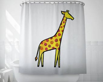 Giraffe shower curtain, Kids shower curtain, Bathroom decor, Illustration, Fun, Children, Hookless, Yellow, Polyester fabric, Long. MS054
