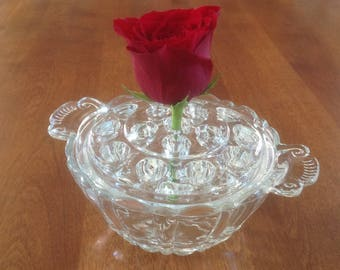 Anchor Hocking OLD CAFE Clear Glass Flower Frog Handled Bowl - Depression Era