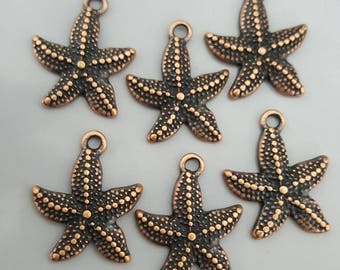 Metal Starfish Charms, Antique Copper, 22x18mm, 6 Pieces