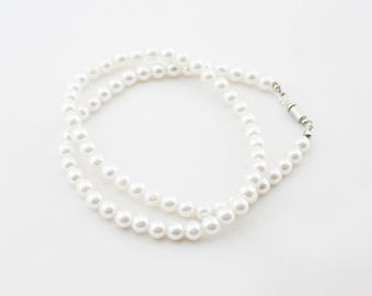 Vintage Classic White Pearl Beaded Single Strand Short Necklace