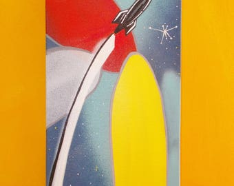 Original Painting MCM Inspired Atomic-Age Rocket Ship Primary Colors