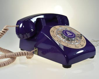 Vintage Rotary Dial Phone in Dark Purple and Dirty Pink Accent Old Classic Phone