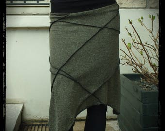 Long skirt, multi-coutures, asymmetrical skirt, Khaki mesh, winter skirt, sharp, handmade