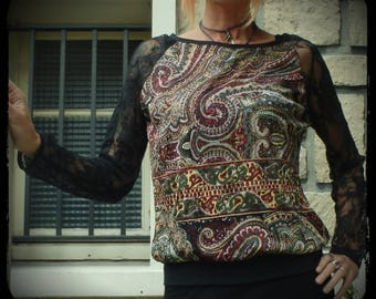 shirt long sleeves, Paisley, Black Lace sleeves, cashmere, long-sleeved top, handmade
