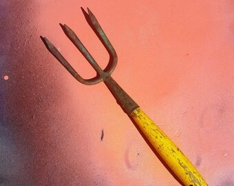 SALE 25% OFF Vintage Garden Tool, Vintage Garden Fork, Vintage Tool in Green with Yellow Handle
