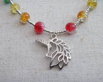 Rainbow unicorn necklace, rainbow beaded necklace, silver unicorn necklace