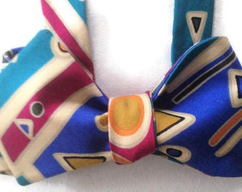 Silk Bow Tie for Men - Mardi Gras - One-of-a-Kind, Handcrafted, Self-tie - Free Shipping