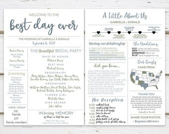 Printable Fun Infographic Wedding Program Unique Modern