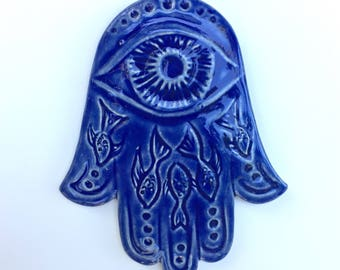 Blue Hamsa Wall Hanging, Fish carving, Chanukkah gift, evil eye protection, Judaica, Blue,
