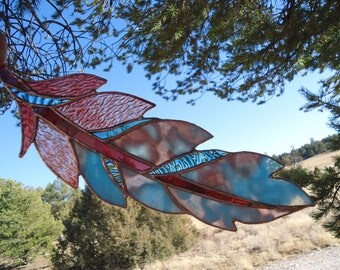 """stained glass feather""""GHOST DANCE FEATHER"""" stained glass panel, stained glass window, feather, glass feather suncatcher, 4 1/2"""" x 14"""""""