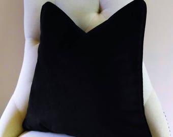 Black Velvet Euro Sham Pillow Cover Knife Edge or Piping 24x24 26x26