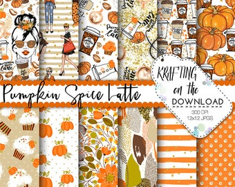 pumpkin spice latte paper pack pumpkin spice paper pack pumpkin paper pack planner girl paper pack coffee pumpkin spice watercolor pumpkin