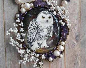 Hand painted owl, Beaded necklace, Painted pendant, Owl pendant, Painted necklace