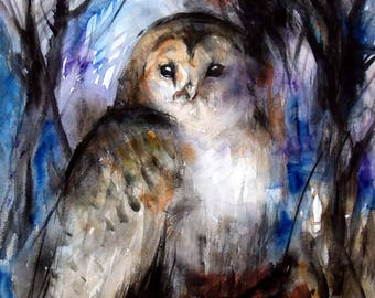Forest Owl Original Watercolor Painting Barred Owl Painting 12x16in-Summer Sale-