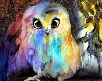 Saw Whet Owl Painting Watercolor Painting Original Owl Artwork Animal Painting Abstract Bird Artwork Wall Art 11x11in
