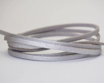 Silver suede cord, coupon 1 meter