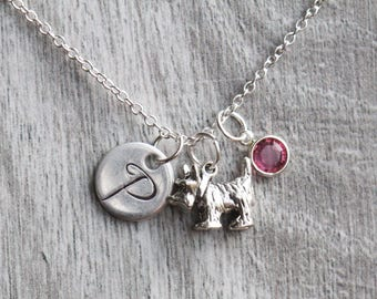 925 Sterling Silver Scottie Dog pendant necklace | Swarovski Birthstone Initial Pendant Necklace | Scottie Dog Necklace | Dog Jewelry