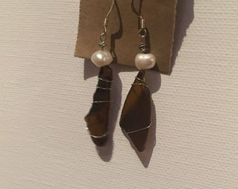 Brown wire-wrapped Sea Glass and Freshwater Pearl earrings