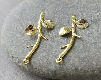 Brass Leaf Branch Pendant, 3 pc Golden Branch Pendants, Brass Branch, Leaf Branch Pendant, Leaf Pendant, Leaf Branch Drop, Leaves