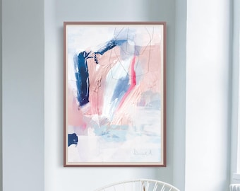 Printable Abstract Art, Navy Blue and Pink Art, instant download art, Large Abstract Art, Dan Hobday, Large Wall Art, living room art
