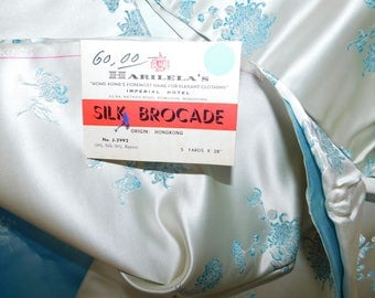 1950's 60s Silk Brocade Fabric - Harilela Package - Baby Blue Ivory Floral 5 YDS
