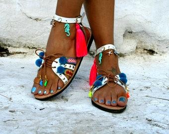 Bohemian Gladiator Leather Sandal -Friendship bracelet- Tinos-Tassels and charms